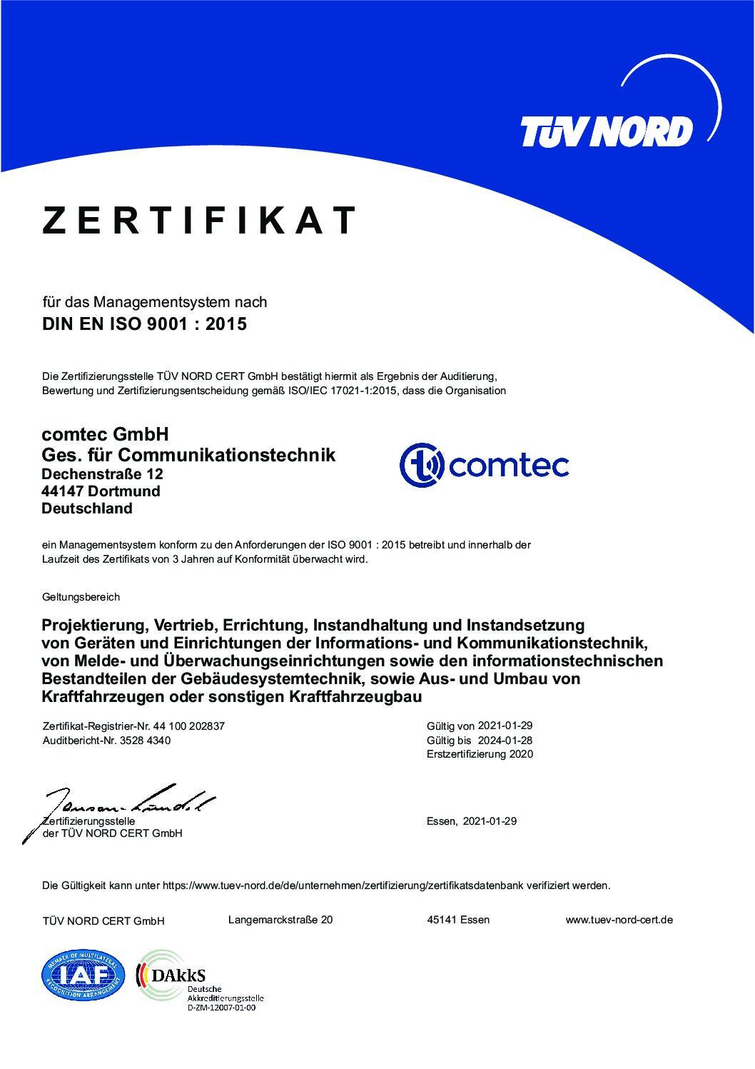 DIN EN ISO 9001 : 2015
